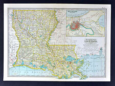 1902 Century Atlas Map Louisiana New Orleans Plan Shreveport Baton Rouge Natchez