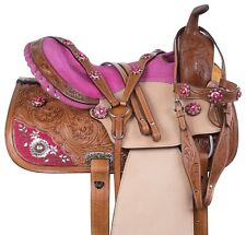 14 15 16 PINK WESTERN PLEASURE TRAIL BARREL LEATHER HORSE SADDLE TACK