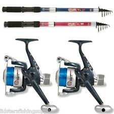 2 x Telescopic Rod 8ft 2.4M + Shiver Reel + Line Combo