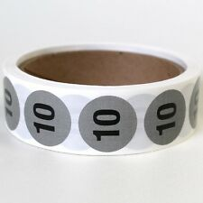 """500ct 1"""" """"TEN"""" NUMBERED CIRCLE STICKER LABEL NUMBER ORGANIZE SIZE CLOTHING SHOES"""