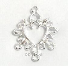 2 S SILVER HEART FILIGREE Chandelier earrings Connector