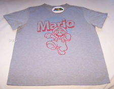 Nintendo Super Mario Mens Grey Marle Printed T Shirt Size XXL New