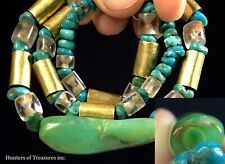 Ancient Pre Columbian Turquoise Jade Quartz & 18k Gold Beads Moche Indian