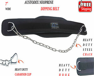 """AUSTODEX DIPPING DIP CHAIN BELT BODY BUILDING WEIGHT LIFTING GYM BACK PULL UP 7"""""""