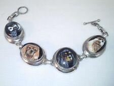 "FOUR Cavalier King Charles Spaniel Handpainted on sterling silver bracelet 8"""