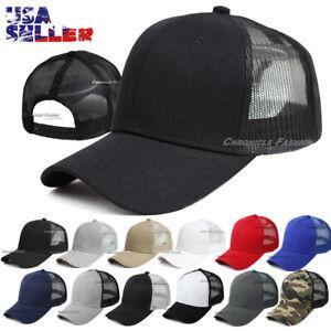 Trucker Hat Mesh Back Baseball Cap Snapback Adjustable Curved Visor Blank Solid