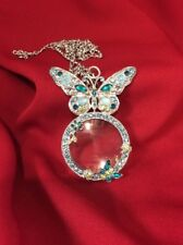 Colleen Lopez My Favorite Things Blue Butterfly Magnifying Glass Drop Necklace