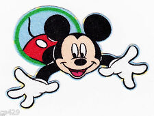 "3"" Disney mickey mouse in circles reaching fabric applique iron on character"