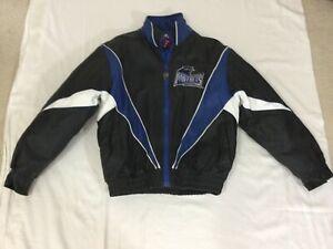 Carolina Panthers Vintage Pro Player Black Leather Jacket (Size Medium)