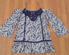 En Creme Open Shoulder Paisley Dress Size Small Crochet NWT