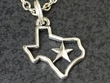 "I Love Texas Star Outline Charm Tibetan Silver with 18"" Necklace BIN"