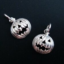 925 Sterling Silver Rounded Pumpkin Charm- Silver Jack-0-Lantern Charm-9.5mm-1pc