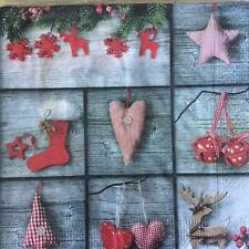 XMAS NAPKINS / SERVIETTES PAPER PACK OF 20 XMAS FABRIC HEART DESIGN 3PLY