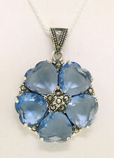 Marcasite Sterling Silver Blue Topaz Heart Cluster Round Flower Pendant w/ Chain