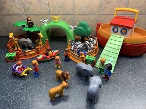 Playmobil 123 Zoo Animals Bundle Toy Elephant Giraffe Zebra Monkey & Noah's Ark