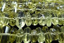 "Faceted Lemon Quartz Light Yellow Nugget Gemstone Beads 8"" Strand Approx. 6-12mm"