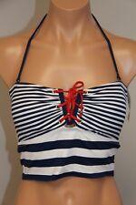 NWT Ralph Lauren Swimsuit Bikini Top Bra Sz 10 Navy White