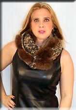 New Gold Leopart Print Infiniti Scarf Fox Fur Pom Poms - Efurs4less