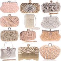 Pearl Handbags Evening Bags Wedding Clutch Party Purse Womens Envelope Crossbody
