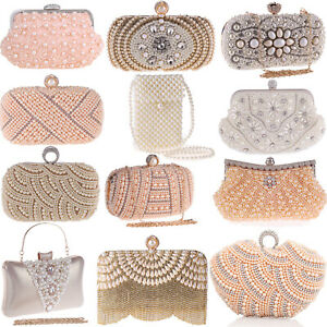 Pearl Handbags Evening Bags Wedding Clutch Party Purse Womens Envelope Crossbody