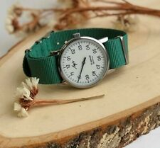 One Hand Casual Watch Green Nato Strap White Mechanical LUCH Collectible Man
