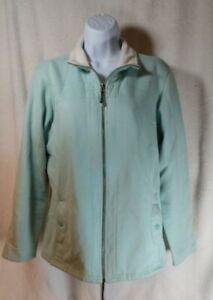 Columbia Zip Up Fleece Lined Sea Green White Jacket Womans size XL