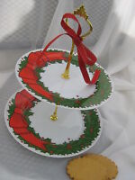 FITZ AND FLOYD,HOLLY WREATH,CHRISTMAS, 2 TIER TIDBIT CAKE STAND TRAY,RED BOW