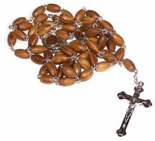 Olive Wood Prayer Rosary Beads Pendant Necklace Holy Land Soil Silver Crucifix