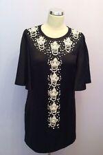 Por MALENE BIRGER Negro Seda & Algodón Con Cuentas Recortar Skyla Vestido Talla 36 Reino Unido 10