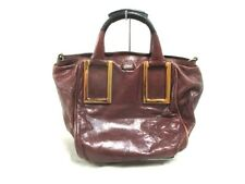 Auth Chloe Ethel DarkBrown Black Leather Handbag