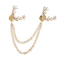 Deer Head Elk Shirts Collar Neck Tip Brooch Pin Chain Tassel Women Accessory