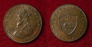 GREAT BRITAIN 1792 CONDER TOKEN LANCASTER LANCASHIRE JOHN OF GAUNT D & H 31 RR