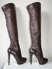 RIVER ISLAND rear zip over the knee thigh high leather boots uk 3 eu 36 rare!!