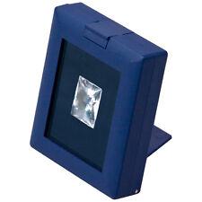 BLUE GLASS TOP GEM BOX w/EASEL SHOWCASE DISPLAY GEMSTONE STORAGE COINS DISPLAY