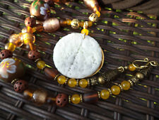 BOHEMIAN Carved Chinese Dragon white Jade reversible Celtic pendant Big NECKLACE