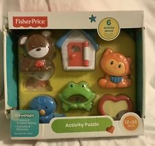 Fisher Price Baby 6 Piece Activity Puzzle Animals Heart House ~ 12-36 Months