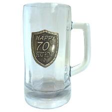 20143 70th BIRTHDAY 1 LITRE GLASS STEIN BEER MUG SHIELD BADGE IN BOX SEVENTIETH
