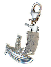 Sterling 925 British Silver Charm, Owl & Pussycat Went To Sea Poem, Sailing Boat