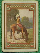 Native American Indian Apache Warrior on Hor 00004000 se Swap Card Vintage Original Wide !
