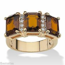 WOMENS 14K GOLD EMERALD CUT CITRINE NOVEMBER BIRTHSTONE RING SIZE 5 6 7 8 9 10