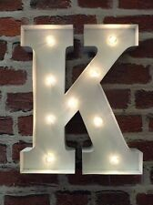 LED LIGHT CARNIVAL WHITE WEDDING CELEBRATION LETTER K - ALL METAL LARGE 33 CM