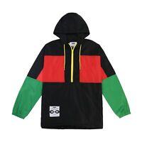 Men's Lightweight Pullover Windbreaker Track Hooded Color Block Jacket Logo Zip