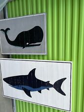 pair of pottery barn whale & shark wood plank gallery wall art 35x24 & 50x30