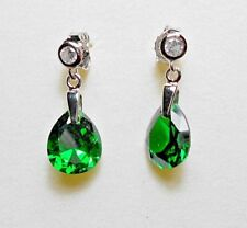925 Sterling silver earrings, simulated emeralds, stud drops