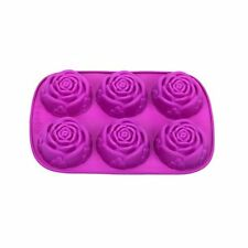 6-Cavity Silicone FLOWER ROSE Cake Candy Mold Jelly Cupcake Mould Baking Pan