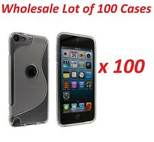 100x Clear S Design Hard Case Cover with Clear TPU Gummy Border for iPod Touch 5