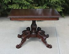 American Empire Mahogany Parlor Center Table with Spiral Pedestal & Claw Feet