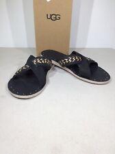 UGG Lexia Women's Size 8 Black/Gold Cross Strap Flat Slide Sandals X21-967