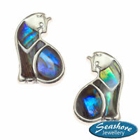 Cat Earrings Paua Abalone Shell Womens Silver Fashion Jewellery Gift Boxed