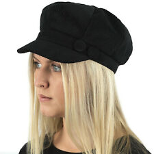 a64b03118d7 LADIES WOMENS GIRLS CORD RIB BAKER BOY NEWSBOY PEAKED CAP HAT QUILTED LINING